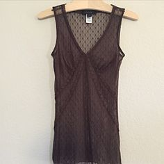 express • brown lace tank Sheer lace v-neck tank. Never worn. In like new condition. Express Tops Tank Tops