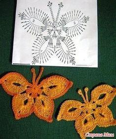Бабочка. Crochet Jewelry Patterns, Crochet Earrings Pattern, Granny Square Crochet Pattern, Crochet Diagram, Basic Crochet Stitches, Crochet Chart, Thread Crochet, Crochet Quilt, Crochet Motif