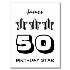 50 Birthday or ANY AGE Striped Stars Custom Name Post Card   To see more customizable striped Jaclinart gift items:   http://www.zazzle.com/jaclinart+striped+gifts?st=date_created&ps=120  #stripes #striped #pattern #jaclinart #design #create