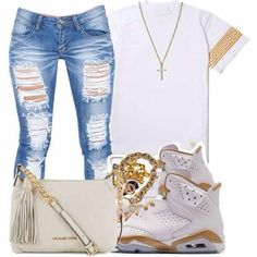 jeans shoes t-shirt jordans shirt jewels urban Gold And White Outfit, Afro, Nike Outfits, Jordan Outfits, Jordan Shoes, School Outfits, Jordan Swag, Winter Swag Outfits, Summer Outfits