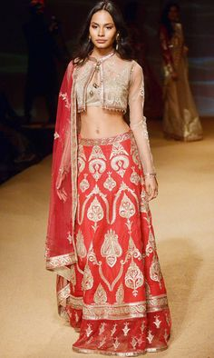 Ashima & Leena Jashn Collection Beige Embroidered Full Circle Red #Lehenga With Beige Jacket At BMW IBFW 2014.
