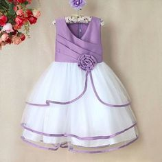 beautiful little princess dress by shopping online. Add to cart the best birthday clothing for your toddler with stylized mauve bodice and white layers of flares with mauve ribbon finish.Baby Wedding Party Dress with Bow in White and LavenderFlower G Frocks For Girls, Little Girl Dresses, Girls Dresses, Flower Girl Dresses, Flower Girls, Baby Frocks Designs, Kids Frocks Design, Baby Dress Design, Frock Design