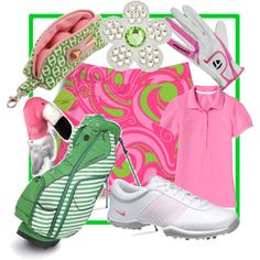 Pink and green golf gear