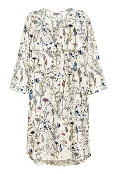 Korte jurk - Gebroken wit/bloemen - DAMES | H&M NL