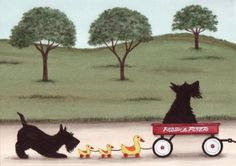 Scottish terrier (scottie) family takes a wagon ride / Lynch signed folk art print  Watercolorqueen on etsy.  she is one of my favorites.....