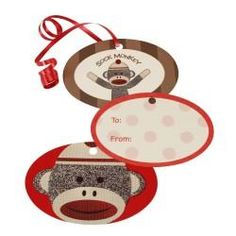 Sock Monkey Red Gift Tags
