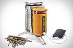 BioLight campstove. It's a small device in which you are meant to burn wood or other combustible biodegradables (leaves, pine cones, etc.). While you place your pot of beans atop to heat, a thermoelectric element inside provides power which outputs through a USB port.    It's $129