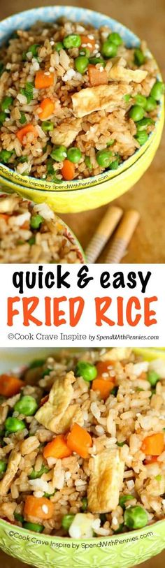 ✔️ This quick and easy Fried Rice recipe is one of our favorites! You can add any kind of vegetable or protein so it's the perfect way to enjoy any leftovers you might have! The best part is that it takes just about 15 minutes!