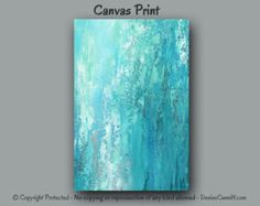 Contemporary abstract painting Teal aqua seafoam by ArtFromDenise