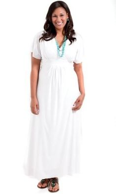 Sealed With A Kiss Designs Plus Size Classic Maxi Dress in White - Price: 	$69.90