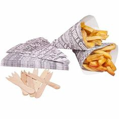 25 Newsprint Design Food Safe Chip Shop Cones With Forks: Amazon.co.uk: Kitchen & Home