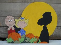 Really cute idea. I could make this if someone could cut the wood for me. I'm not too fond of the facial expressions.... The Great Pumpkin Charlie Brown Yard Art by funfromthefarm on Etsy, $43.00