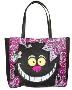 Alice in Wonderland Cheshire Cat Face Paisley Tote Handbag & Wallet SET Disney Tote Bags, Disney Handbags, Disney Purse, Cheshire Cat Smile, Chesire Cat, Cat Purse, Cat Bag, Cat Shoes, Disney Couture