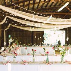 """bridalmusings: """"Modern, fresh & pretty decor at this gorgeous DIY barn wedding on www.bridalmusings.com featuring photos by the awesome @brettarthur & @jessicadonar #DIYwedding #fairylights #pink..."""
