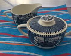 Currier and Ives sugar and creamer by HollyWouldFind on Etsy