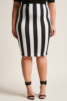 Product Name:Plus Size Striped Pencil Skirt, Category:CLEARANCE_ZERO, Price:18