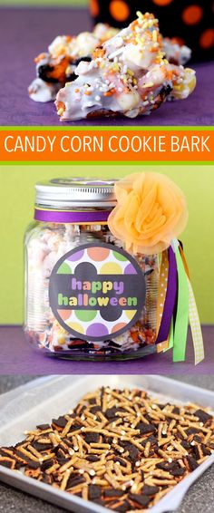 Easy Candy Corn Pretzel Cookie Bark.  Yummy and such a cute gift!