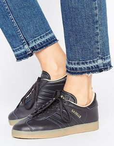 adidas Originals Black Leather Gazelle Trainers With Gum Sole