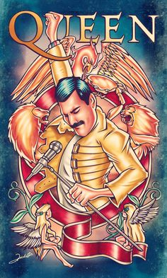 Illustration about one of the greatest bands of all time, Queen! In the art we see the amazing singer Freddie Mercury in his classic yellow jacket, surrounded by the coat of arms of the English band. Queen Freddie Mercury, Pop Rock, Rock N Roll, Freedie Mercury, Queen Art, Rock Posters, Cultura Pop, Classic Rock, Rock Art