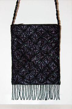 "NWT Small BLACK Beaded EVENING BAG PURSE Cross Body Bag Tassels Wallet 7.5"" X 6"" #Unbranded #EveningBag"