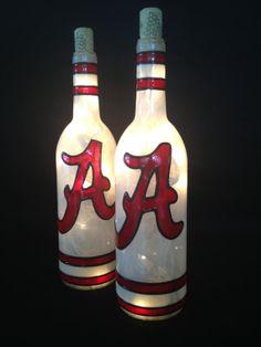 Alabama Crimson Tide Wine Bottle Lamp by BottleOfLights on Etsy Hanshew Hanshew Pierson
