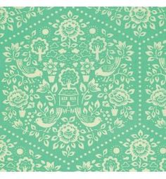 clementine - summerhouse - turquoise - designer cotton fabric
