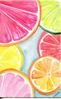 Original Orange, Lemon, Grapefruit slices Watercolor Painting Original, Fruit watercolor art, original watercolor citrus fruit 4 x 6 – art – Obst Lemon Painting, Fruit Painting, Orange Painting, Paintings Of Fruit, Watermelon Painting, Food Art Painting, Summer Painting, Face Paintings, Colorful Paintings