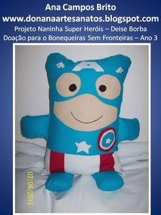 Naninha Super Heróis Capitão América Projeto Deise Borba - Doação para o Bonequeira sem fronteiras
