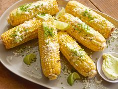 Grilled Corn on the Cob with Garlic Butter, Fresh Lime and Cotija Cheese recipe from Bobby Flay via Food Network