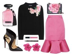 """Pink and Black"" by texaspinkfox ❤ liked on Polyvore featuring Dolce&Gabbana, J.Crew, Christian Louboutin, Chanel, Smith & Cult, Christian Dior, Victoria's Secret and cashmere"