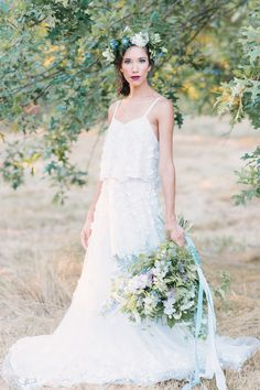Two Piece Crop Top Wedding Dress, 3D, Floral, Flowers, Embroidered, French Knot Couture