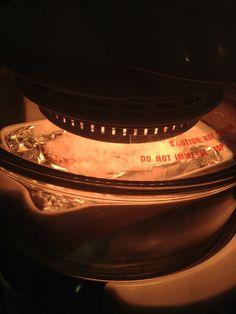 2014-08-30 roast pork (pork belly, 玫瑰露,紹酒, white pepper, 五香粉,sea salt ==> marinate for 1 hr ==> 豬肉揷 ==》white vinegar ==> sea salt on to of skin ==> bake 200C 50 mins ==> clear sea salt ==> 豬肉揷 ==》bake 220 C 30 mins