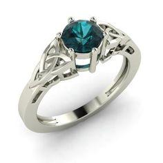 Round Blue Diamond Ring in 14k White Gold