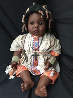 AFRICAN AMERICAN BLACK DOLL GOTZ DRIBBLE BABY LOSSNITZER # 348-22 INCHES