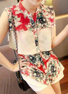 Red High Neck Sleeveless Floral Cascading Ruffle Chiffon Shirt