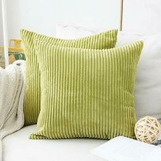 Home Brilliant Decorative Pillow Covers Soft Velvet Corduroy Striped Square Throw Pillow Cushion Cover for Couch, 18 x 18 2 Packs, Grass Green Large Pillow Covers, Large Throw Pillows, Sofa Cushion Covers, Decorative Pillow Covers, Cushions On Sofa, Cover Pillow, Lime Green Cushions, Silver Grey Rug, Ideas