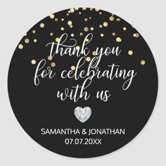 Shop THANK YOU for Celebrating BLACK Gold Wedding Classic Round Sticker created by UniqueWeddingShop.