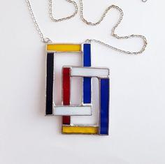 Pendentif vitrail-Mondrian-rectangle simple 3-bleu-rouge-jaune-noir-moderne-hipster