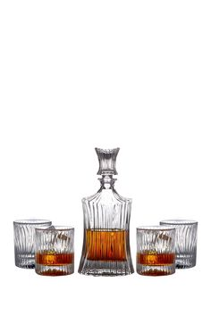 Jay Import Augusta 5-Piece Decanter & Whiskey Glasses Set