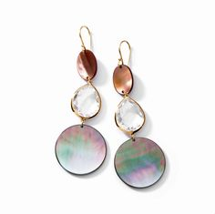 Ippolita | 18K Gold Triple Drop Round Earrings in Black and Brown Shell with Clear Quartz - Earrings - 18K Gold
