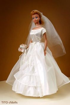 Barbie Bridal, Barbie Wedding Dress, Wedding Doll, Barbie Dress, Wedding Dress Styles, Barbie Clothes, Vintage Barbie Dolls, Mattel Dolls, Bride Dolls