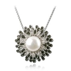 14K White Gold Black & White Diamond & Freshwater Pearl Burst Ne