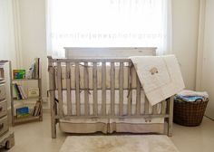 Adair's Gender Neutral, Vintage Lamb Themed Baby Nursery in CeCe Caldwell's Young Kanses Wheat | Painted Furniture | Distressed | Upcycle | Newborn | Farm house chic | owls | handmade quilt | clay and chalk paint | refinished crib | painted crib | picture