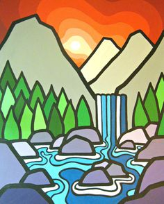 The Falls II, x Fine Art Print of Original Acrylic Painting -Waterfalls, Mountains-Buy Any 2 Prints & Get a FREE-- Zentangle, Colorful Mountains, Kids Watercolor, Mountain Art, Hippie Art, Elements Of Art, Art Plastique, Art Reproductions, Landscape Art