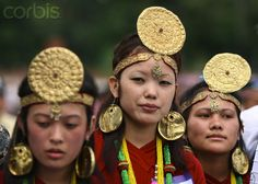 Nepal | Women from Limbu, an ethnic community, wearing traditional dress and jewelry, attend an activity to celebrate the World Indigenous Day in Kathmandu. 2009 | © Gautam/Xinhua Press/Corbis