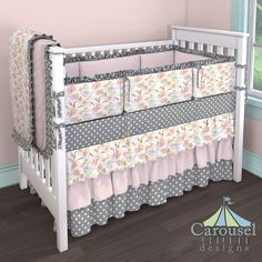Crib bedding in Pink Hawaiian Floral, Pink Circles, Gray Mini Swiss Cross. Created using the Nursery Designer® by Carousel Designs where you mix and match from hundreds of fabrics to create your own unique baby bedding. #carouseldesigns