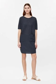 COS image 1 of Oversized dress with silk skirt in Navy
