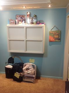 Klo's New Studio-Office-Craft Room drop down desk with storage -- click on the pin to see the interior + the rest of her room.