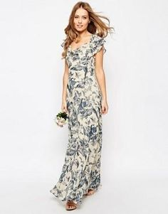 ASOS WEDDING Frill Shoulder Detail Maxi Dress in Print
