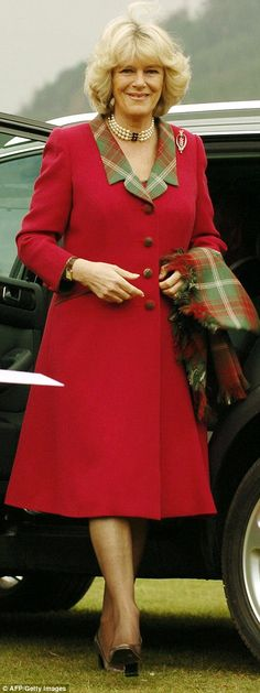 Changing colour: The Duchess used to favour bold brights and lots of print but has now swapped that for a more flattering palette